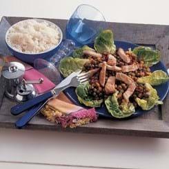Lynstegte skinkestrimler med grøntsagschutney