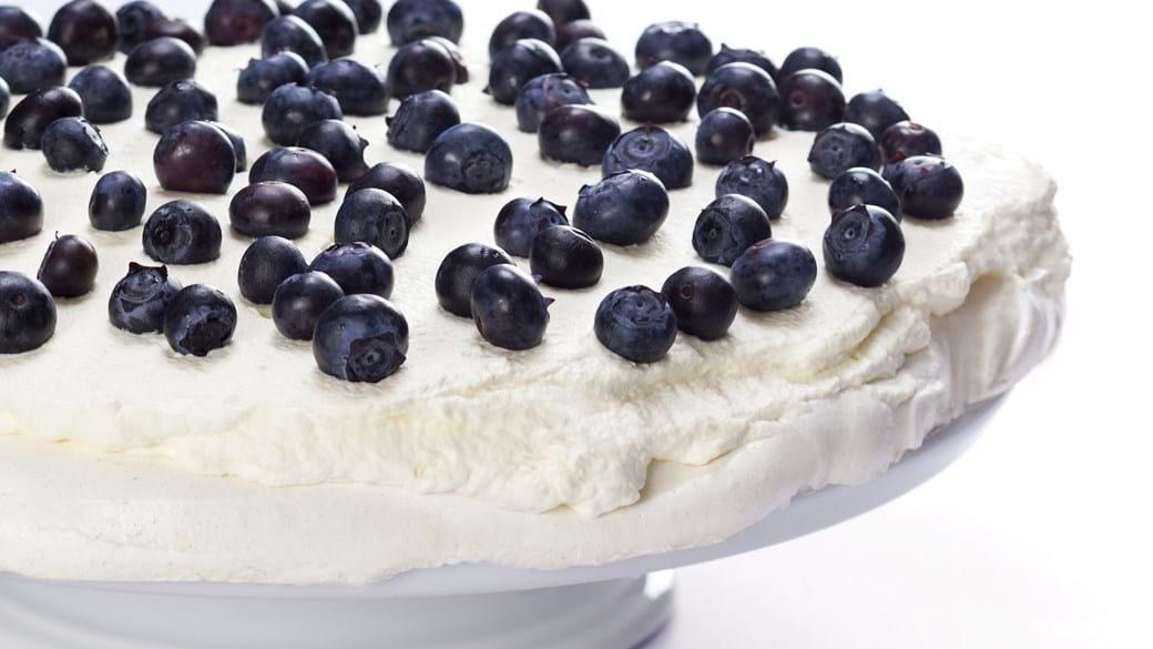 Pavlova med blåbær