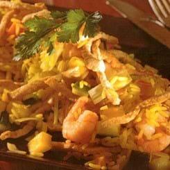 Nydansk Paella med wokstrimler, rejer og porrer