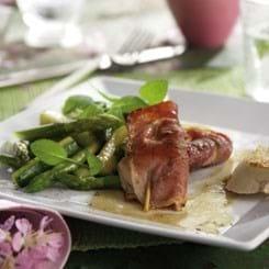 Sauté-skiver i svøb med marsalasky og lynstegte grøntsager