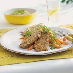 Sauté-skiver med honningristede gulerødder og kørvel
