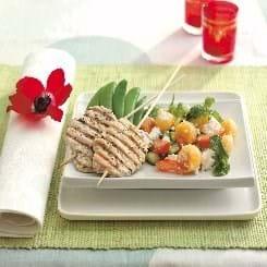 Sauté-skiver på grill med melonsalat
