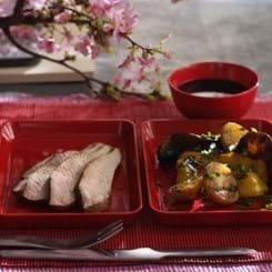 Skinke Flanksteak og grøntsager a la teriyaki på grill