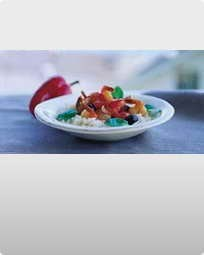 Store Kinarejer med tomat, ingefær og chili