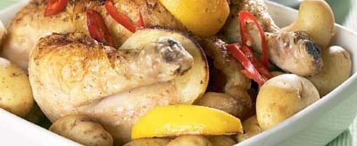 Ovnstegt kylling med citron og rød mojosauce
