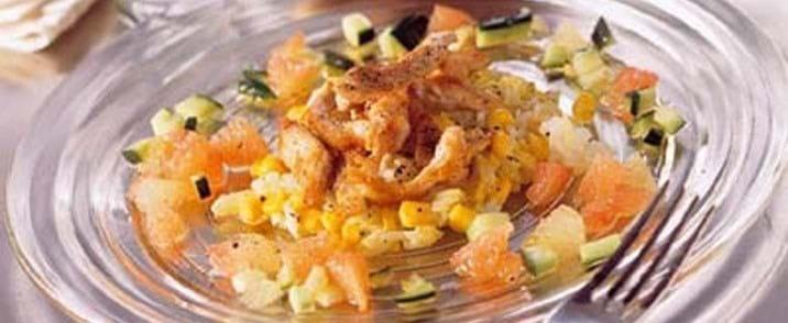 Risret med kalkun og kokos og grapefrugtsalsa
