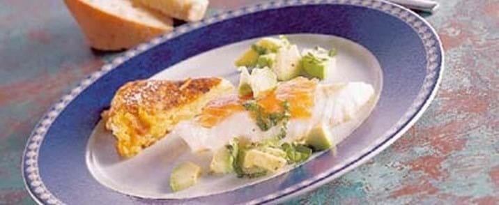 Torsk med avocadosalat og kartoffelpandekage