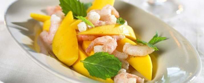 Vanillemarinerede rejer med mango