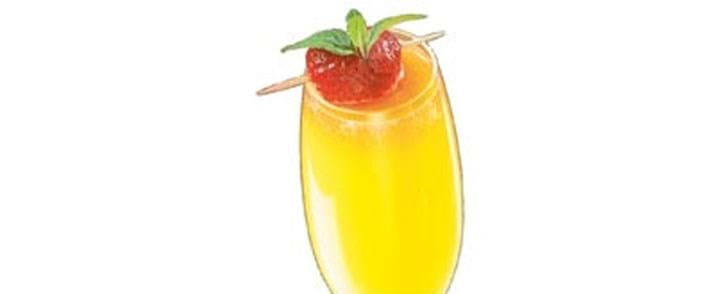 Champagne med appelsinsaft og jordbær