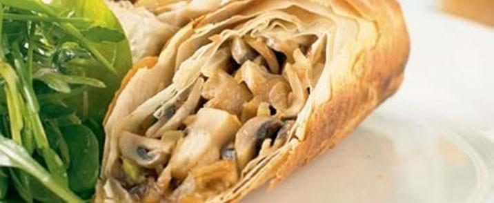 Filorulle med champignoner