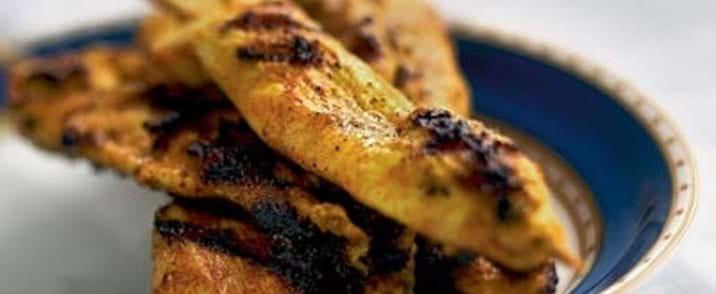 Grillede indiske kyllingespid