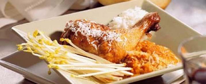 Grillet kylling med tomat og kokossauce