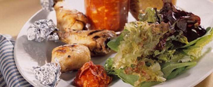 Grillet kyllingelår med rørt tomatketchup