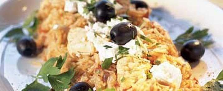 Græsk kylling med feta og oliven