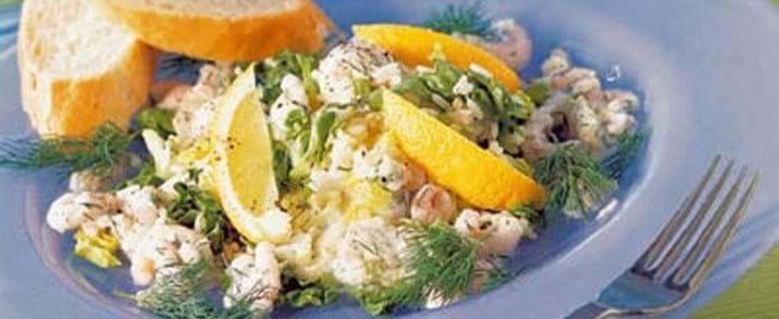 Hjertesalat med ris til rejer i citrondressing