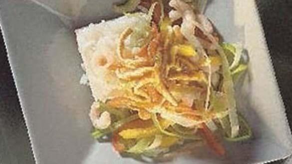 Hot kinesisk inspireret ret med rejer og grøntsager