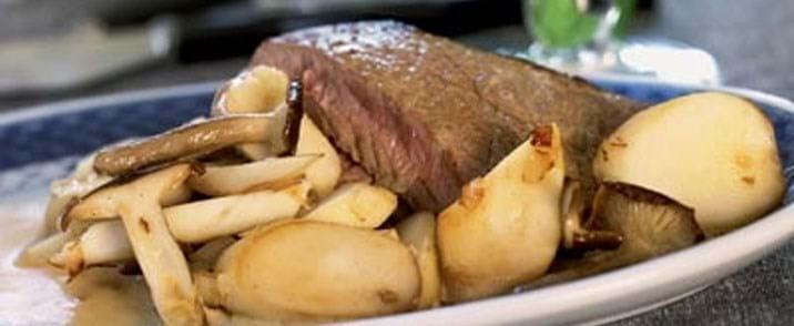 Kalveschnitzel med svampe