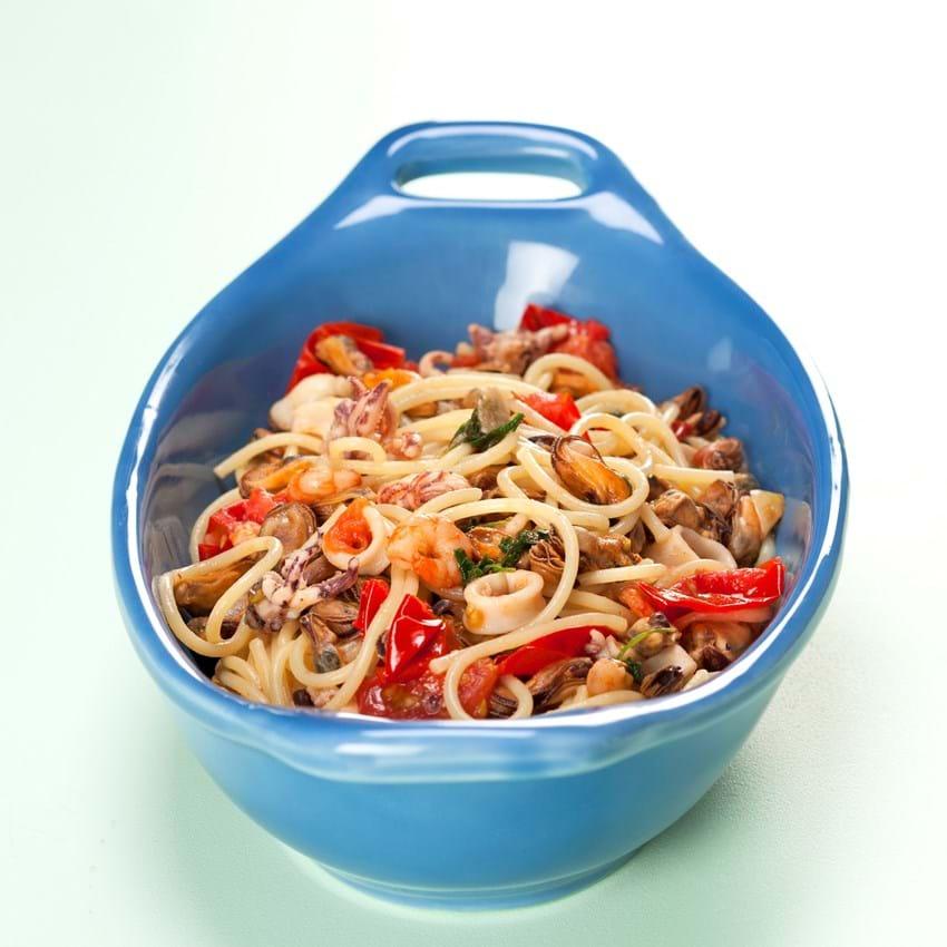 Spaghetti med skaldyr