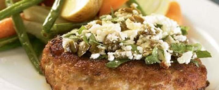 Krebinetter med oliven og feta
