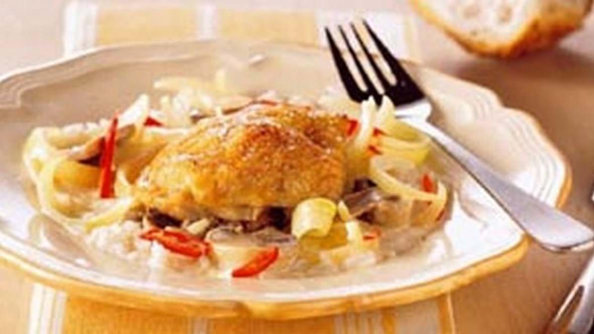 Kyllingeoverlår m/grøntsager i cremet østerssauce