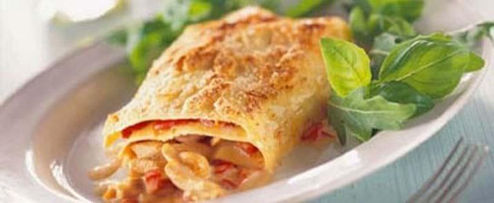 Lasagne med peberfrugter og kylling