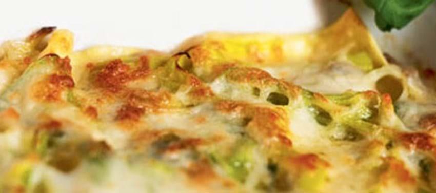 Lasagne med porrer og svampe