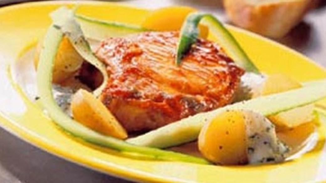 Nye kartofler med barbecuekoteletter