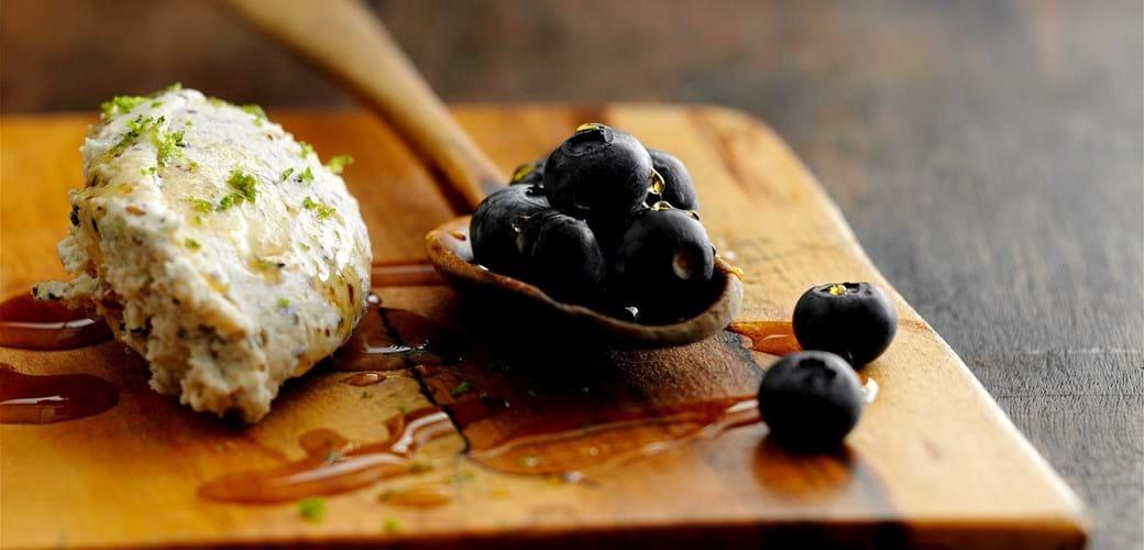 Mascarpone med blåbær og ahornsirup