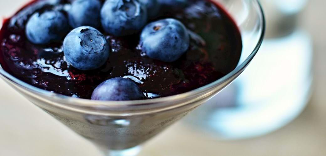 Blåbær-slush med portvin (4 små slush-ice)