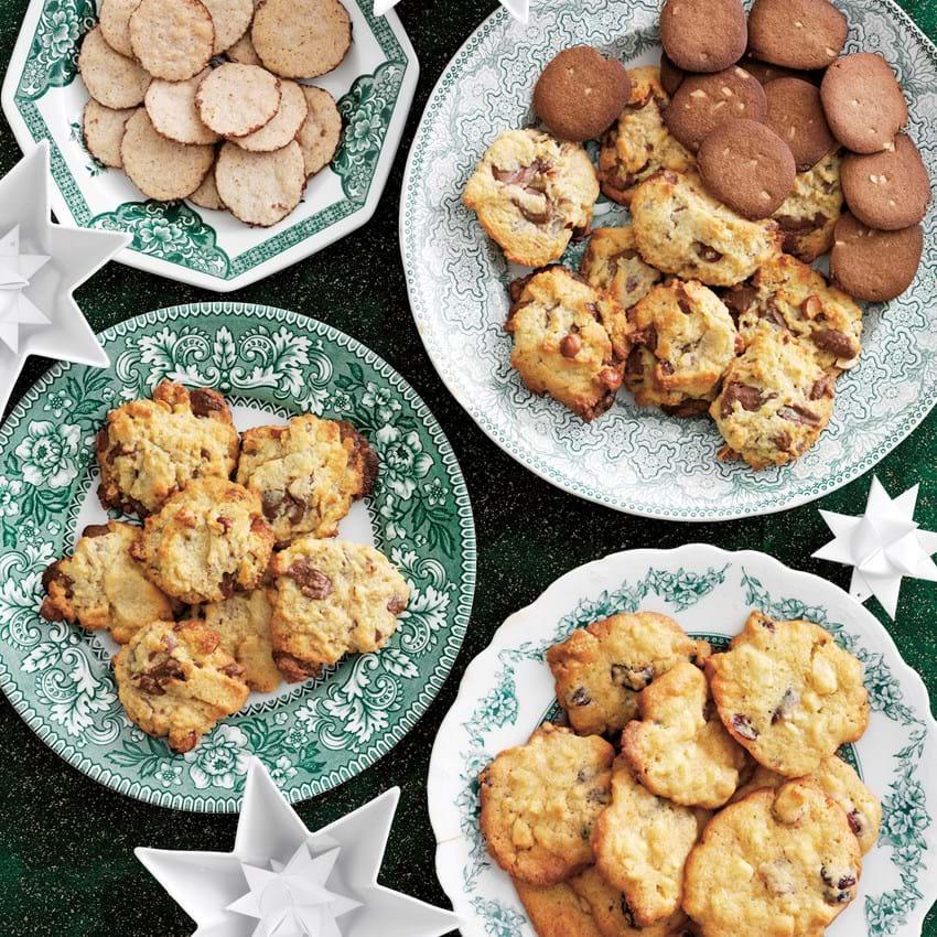 Cookies med mandler og kirsebær