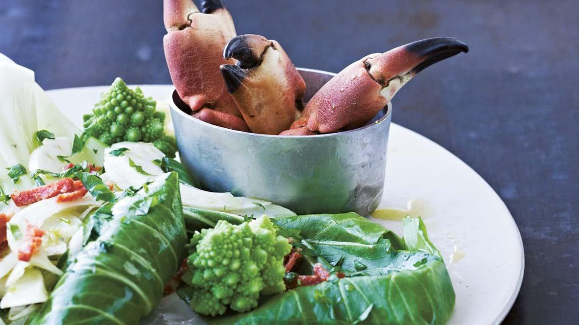 Krabbe med kål og fennikel