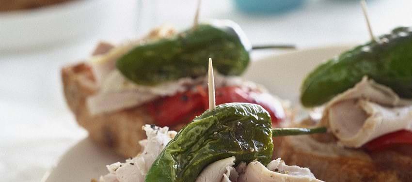 Pintxos med letsprængt svinekam og peberfrugt