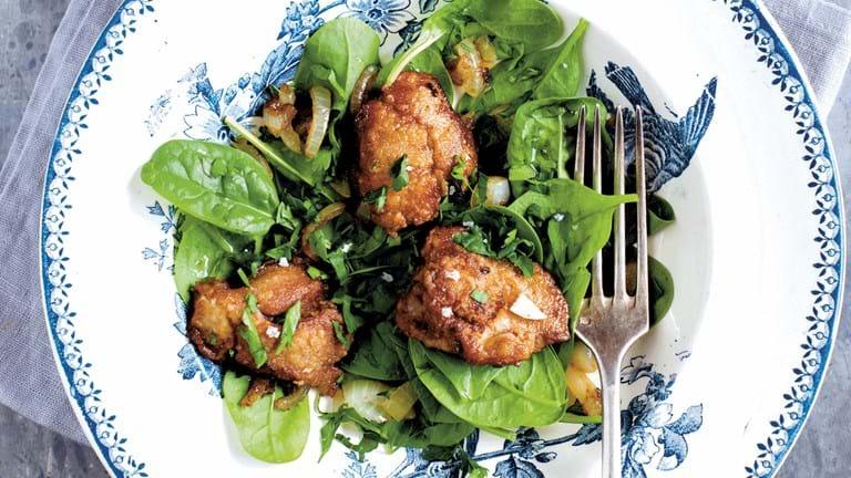 Spinatsalat med kyllingelever