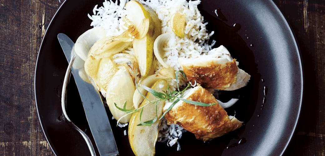 Kylling med pærer i hvidløgssmør