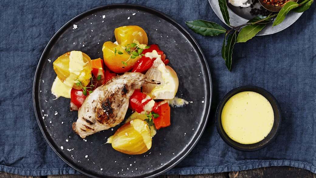 Grillet kanin med grøntsager og nem aioli