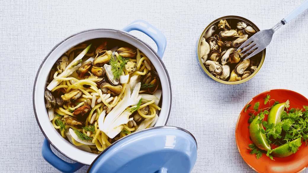 Spaghetti med muslinger og fennikel