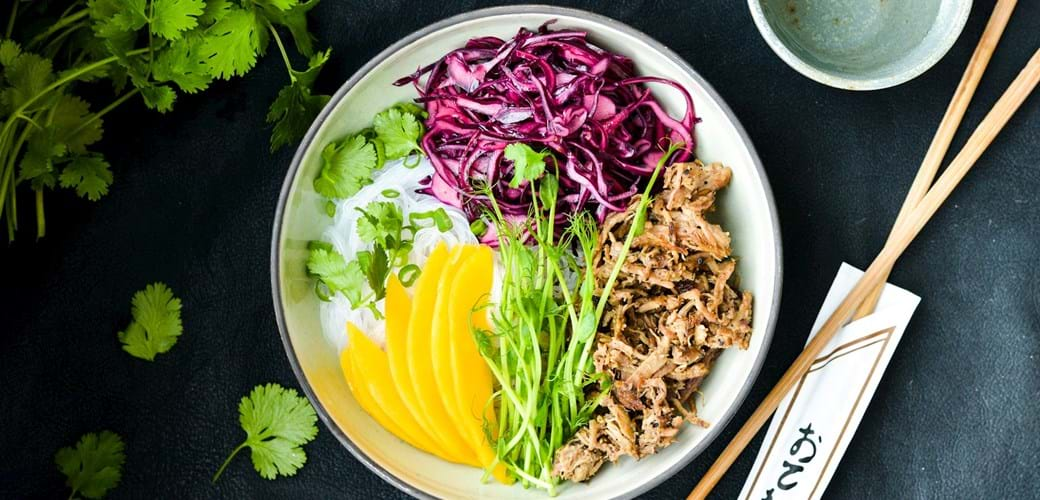 Asiatisk nudelsalat med pulled pork