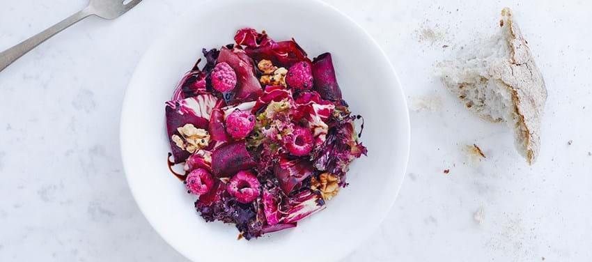 Salat med hindbær til 10 personer