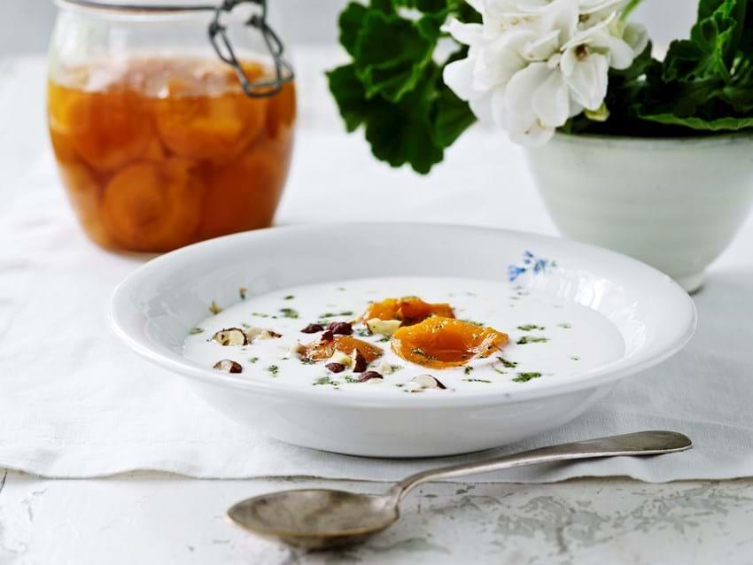 Tykmælk med syltede abrikoser og myntesukker