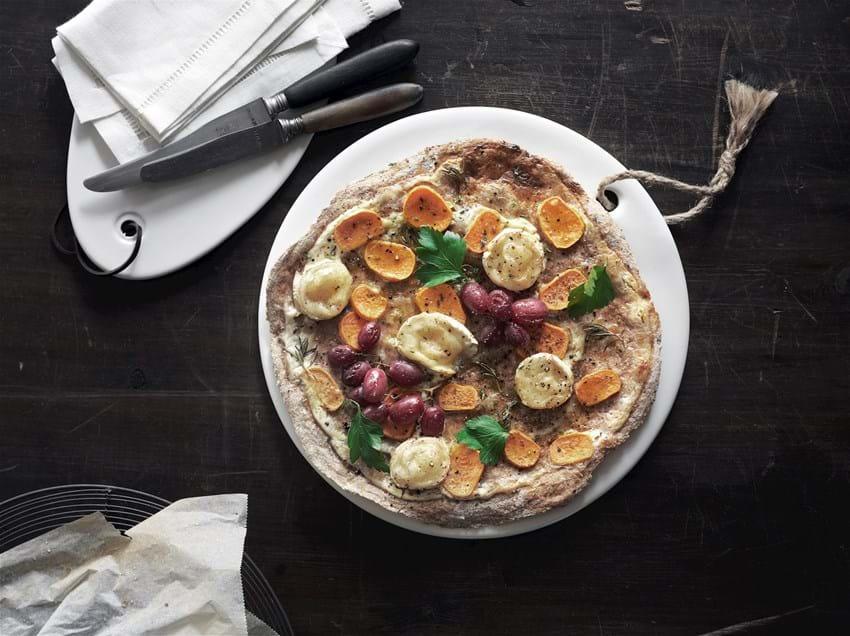 Pizza med søde kartofler og gedeost