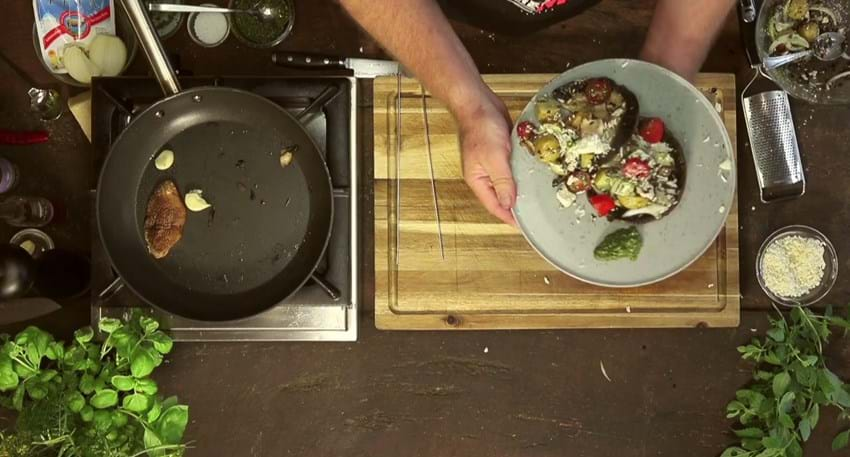 Portebello, feta og kartofler