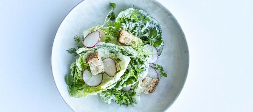 Let forårssalat - med urter, sprøde croutoner og flødedressing