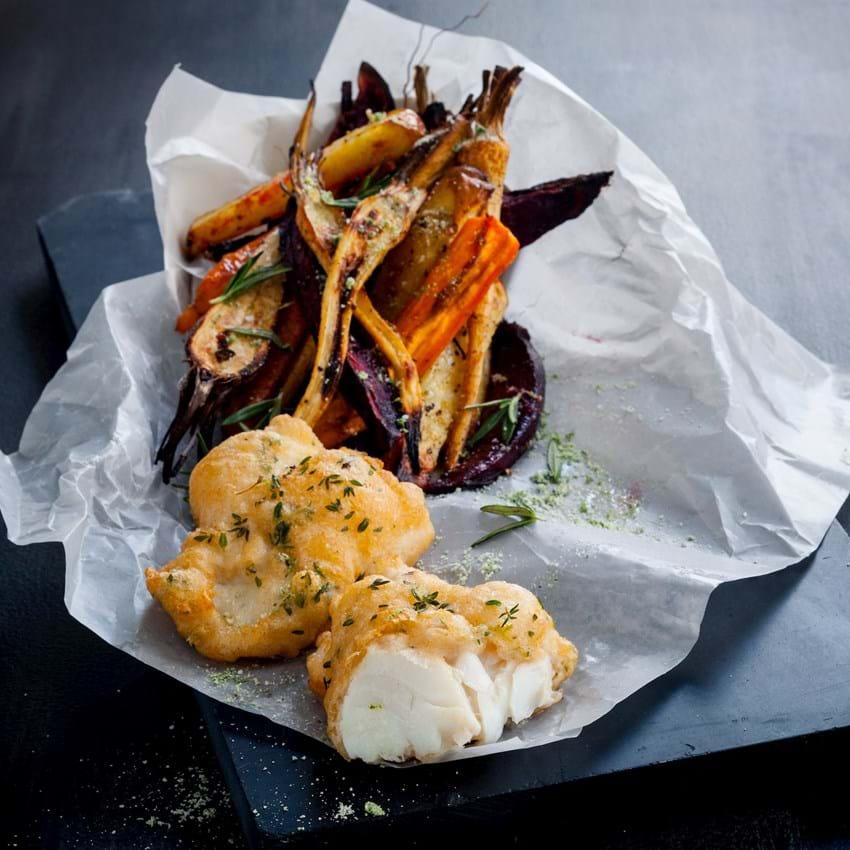 Fish 'n chips med kuller og rodfrugter