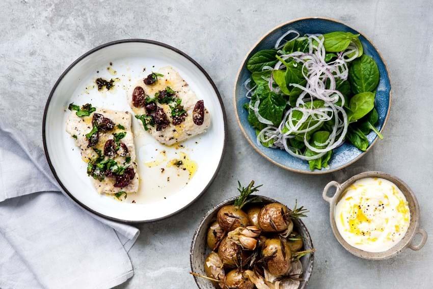 Bagt kulmule med oliven og citroncreme