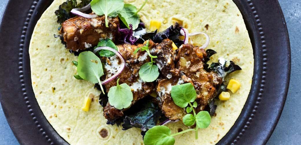 Spicy, mør gris i tortillas