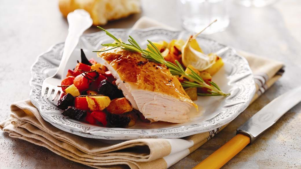 Kylling i ovn med rodfrugter