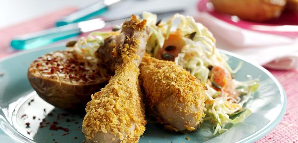 Panerede kyllingelår med coleslaw