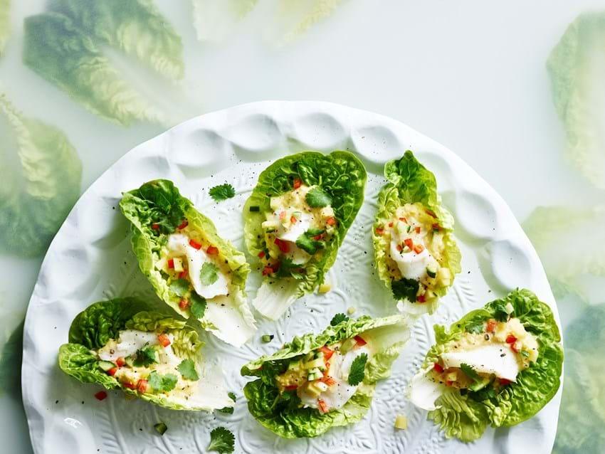 Salatskåle med majscreme og  ceviche
