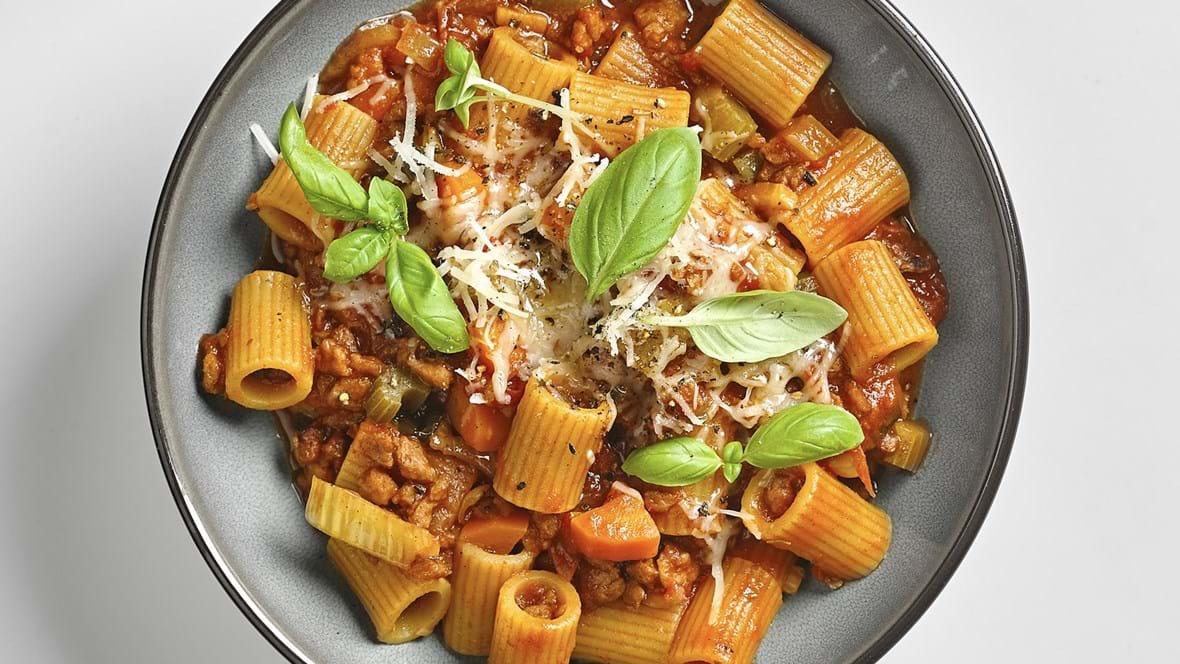 Økologisk one-pot-pasta med oksekød