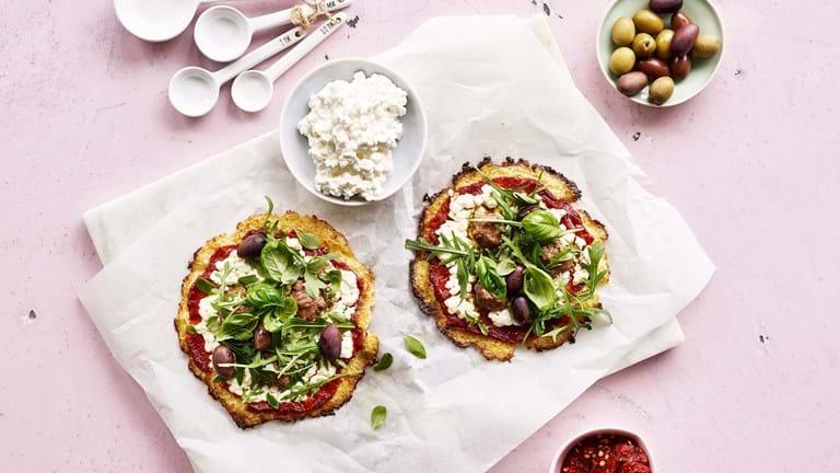 Blomkålspizza med hytteost  og okse